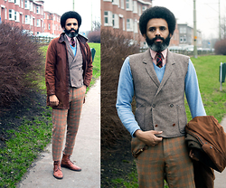 Dualleh Abdulrahman - No Brand Blazer Into Waistcoat, Hugo Boss Flanel, Gants Long Ivy Jacket - Colors 1