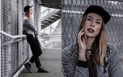 Natalia Homolova - H&M Snapback, Goldie London Grey Bomber, Kenzo T Shirt, Asos Trousers, Converse Trainers, Givenchy Handbag - Velvet Sequins