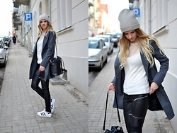Kasia Z. - H&M Mesh Top, Zara Leather Pants, Choies Coat, Adidas Superstars - MESH TOP & SUPERSTARS