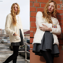 Julia Erm - H&M Cardi, Bershka Skirt - Royal White