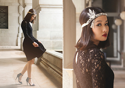 Uli C - O'oro Accessories Great Gatsby Headpiece, Zara Lace Dress, Zara Sandal Heels - Gatsby
