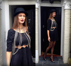 Amina Allam - H&M Hat, Topshop Body Chain, Modekungen Naomi Cut Out Dress, Christian Louboutin Studded Pumps - All black & metal