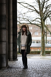 Kim S. - Bench Parka, Cos Sweater, Zara Leather Skirt, Vintage Boots - Fuzzy Jumper