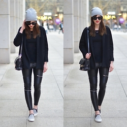Barbora Ondrackova - Coat, Leggings, Knit, Ps11, Slip Ons - BLACK AND GREY