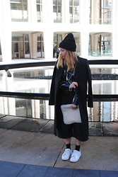 Kyleen Sanchez - Topshop Overcoat, Asos Crackle Top, Urban Outfitters Clutch, Topshop Culottes, Adidas Sneakers - New York Fashion Week