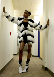 Gilecia Dias - Nasty Gal Faux Fur Coat, June Ambrose Chain Boots - Cruella Fur!