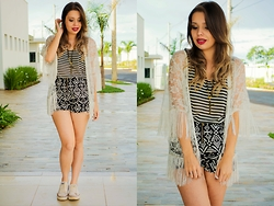 Priscila Figueredo - Sheinside Print Shorts, Striped Top, Lace Kimono, All Star, Necklace Cross - I'll walk away and I will leave you be;