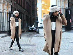 Sharena C. - Zara Black Gold Brogues, Oasap Camel Robe Coat, Aldo Fur Headband - Cobble