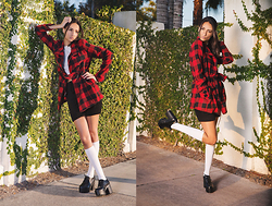 Indya S. - Forever 21 Plaid Peacoat, Wonderstellar Alexa Lace Up Booties, Wonderstellar Everyday Fitted Crop Top, Oasap High Waisted Knitted Shorts - The Suburbs
