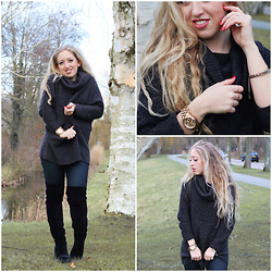 Lilia - H&M Cowlneck Sweater, H&M Leather Look Jeans, H&M Thigh High Boots - COWLNECK SWEATER
