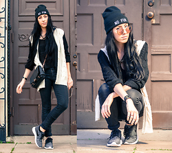 Chelsea Den - No Fun Press Beanie, Ray Ban Round Folding Flash Lense Sunglasses, Forever 21 Knit Cardigan, Kill City Denim, Nike Roche Flyknits, No Fun Press Blood Of The Young Watch - Let's Get Lost