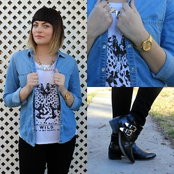 Magnolia Rose - Target Denim Jacket, Mango Wild Shirt, Old Navy Black Skinny Jeans, The Divided Triangle Necklace, Nixon Gold Watch, Boohoo Black & Gold Ankle Booties - DENIM JACEKT OOTD
