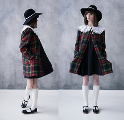 Sasha Karolik - Topshop Hat, Topshop Shoes - Tartan Coat