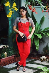 Richeen Siew - Net Top, H&M Red Jumpsuit, Vintage Leather Sling Bag, Zalora Strappy Heels - Chinese New Year