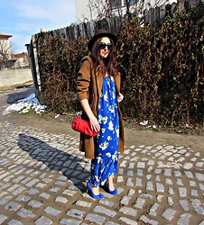 Fashion Whispers - Chiffon Dress, Choies Chiffon Floral Print Dress, Max Mara Overcoat, Poema Cobalt Stiletto - Tobacco & Gillyflowers