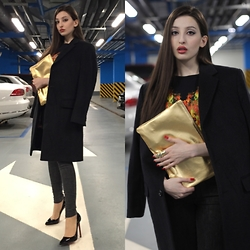 Lil Alina - Christian Louboutin Pigalle Follies, American Apparel Clutch, Christian Dior Vintage Coat, Marcelo Burlon Sweater, American Eagle Outfitters Denim - Casual Chic
