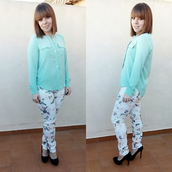 Trapos ConEstilo - Turquoise, Flowers, High Heels - Turquoise