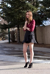 Arielle - Anthropologie Lace Peplum Top, Zara Frilled Skirt, Nine West Nero Shootie - Red Lace
