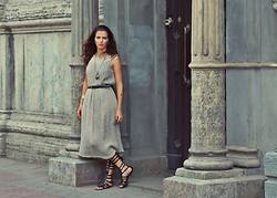 Susanna Vesna - Natural Linen Dress From Russia, Steve Madden Gladiator Sandals - Lost In Time