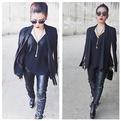 Mleo Nguyen - Nasty Gal Blazer, Nasty Gal Necklace, Ray Ban Sunglasser, Chanel Earrings, Nasty Gal Pants, Roberto Cavalli Cluth, Hermës Bracelet, Gianmarcolorenzi Boots - The end
