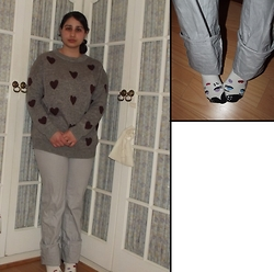 Selina M - Yesstyle.Co.Uk Heart Print Jumper, Swapped Striped Trousers, Monki Cute Socks - Cute socks