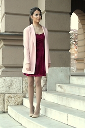 Sofija Surdilovic - Sheinside Wine Red Sleeveless Pleated Dress, Sheinside Pink Coat - Red wine dress and baby pink coat, maybe I am a goat!?