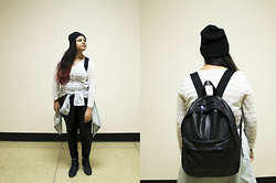 Maha Hawk - H&M Black Beanie, Aldo Faux Leather Backpack, Stitches Online Sheer Striped Top, Old Navy Denim Chambray Shirt, Forever 21 Leather Joggers, Sears Black Booties - Casual Leather