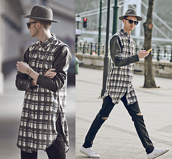 Chaby H. - Masamod Grey Fedora Hat, Iridium Clothing Elongated Flannel Shirt With Zip Off Real Leather Arms, Vintage Ripped Jeans, H&M White Leather Sneakers - Elongated Shirt with real leather arms + fedora Hat