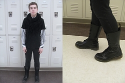 Brock Langel - Vintage Shirt, Forever 21 Shirt, Steve Madden Frayed Scarf, Dr. Martens 1914 Black Boot - Look From 02/23/15
