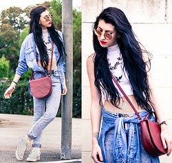 Chelsea Den - Ray Ban Sunglasses, American Apparel Crop Top, Chelsea Den Jewelry Afghan Coin Necklace, Acid Reign Washed Denim, Larke And Wolfe Denim Button Up (Similar), Converse Hightop, Matt & Nat Leather Crossbody Bag - All Star