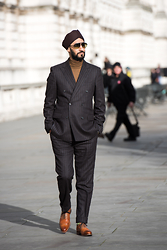 Dalbir Virdee - Grenson G Zero Wingtip, Gieves And Hawkes Double Breasted Suit, Giorgio Armani Turtle Neck Sweater, Tom Ford 'Adrian' Sunglasses - London Fashion Week Day 4