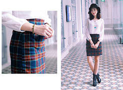 Shanice Koh - Boutique In Seoul Skirt, Curious Creatures Necklace, Bboram Heeled Chelsea Boots, Bboram Bracelet - Plaid or Tartan?