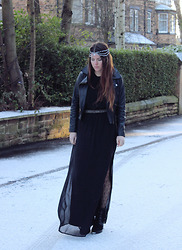 Jade Rose Topper - Zara Faux Leather Jacket, Zara Chiffon Maxi Dress, Zara Wedge Ankle Boot - All Black Outfits with Zara