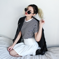 Mickylene Delgado - American Apparel Unisex Poly Stripe Crew Neck, Elite99 White Tennis Pleated Skirt, Oasap Vegan Leather Jacket Moto, Freyrs Silver And Black Round Sunglasses - Red Kiss