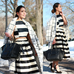 Leah Ho - Céline Phantom Bag, Detail On Blog Full Skirt, Detail On Blog Plaid Coat, Detail On Blog Crop Top - Fashion Week Outfit (Stripes & Plaid )