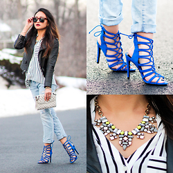 BLESSIE - Zara Blue Strappy Sandals, Oak Black Leather Jacket, Rebecca Minkoff Studded Clutch, Happiness Boutique Statement Necklace, Express Striped Top, American Eagle Outfitters Ripped Jeans - A PRE-SPRING STATEMENT