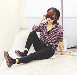 Bernadette F - Oasap Beret, Oasap Plaid Shirt, Fashion71 Shoes - STRANGERS