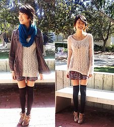 Michelle Pan - Oak Open Knit Sweater, Anorak, Band Of Gypsies Paisley Floral Dress, Urban Outfitters Thigh High Tights - Never Fall Apart