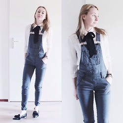 Magna G. - Blouse With Bow, Denim Overalls - Grey denim overalls
