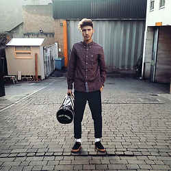 David Whitfield - Fred Perry Micro Tartan Shirt, Fred Perry Barrel Bag, Fred Perry Twill Trouser, You Guessed It Suede Brogues - All Fred Perry Everything