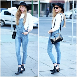 Marta M - Sheinside Dungaress, Iclothing Crop Top, Pepa Loves Bag, Zara Boots - Denim