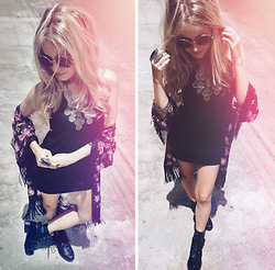 Joicy Muniz - Urban Outfitters Sunglasses, Ow Line Necklace, Love Luxo Dress, Forever 21 Rings, Love.D Kimono, Petite Jolie Boots - It's Boho!