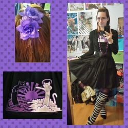 Danielle B. - Purple Flower Clips, I Can Has Cheezburger Catnarok T Shirt, Dresslink Light Weight Black Cardigan, Metamophose Black Skirt, Dresslink Black Bow Waist Belt, Forever 21 Purple Tights, Sock Dreams Black And Gray Thigh High Socks - Catnarok is Nigh