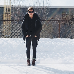Alexander Liang - Canada Goose Parka, Palladium Boots - Black on black on white