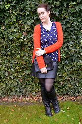 Sarah M - Aliexpress Shirt, L&L Cardigan, Forever 21 Clutch, Promod Leather Skirt, Bullboxer Boots - Navy Swans