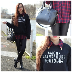 Lauranne Fait des bêtises - Jollychic Tartan Blouse, Rad Gainsbourg Sweater, Morgan Black Leather Pants - Gainsbourg