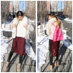 Emily Men - Free People Fur Collar, Stella Mccartney Bruce Mohair Blend Jacket, Ann Taylor Cropped Cable Sweater, Forever 21 Heather High Slit Top, Juicy Couture Leather Pants, Stella Mccartney Britt Shoes, Stella Mccartney Backpack - Pinks