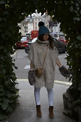 Claudia - Patrizia Pepe Handbag, Poncho, Helene Berman Hat - WHITE WINTER
