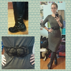 Danielle B. - Rue 21 Black Knee High Boots, Dresslink Black Flower Waist Belt, Charlotte Russe Black Lacy Flower Headband, Forever 21 Gray Dress, Forever 21 Black Tights, Jcpenney Engagement Ring - Bridal Show~