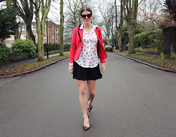 Jade Rose Topper - Zara Black Heel, H&M Red Pom Pom Blazer, Roberto Cavalli Cat Eye Sunglasses, Pleated Mini Skirt - Red Lips